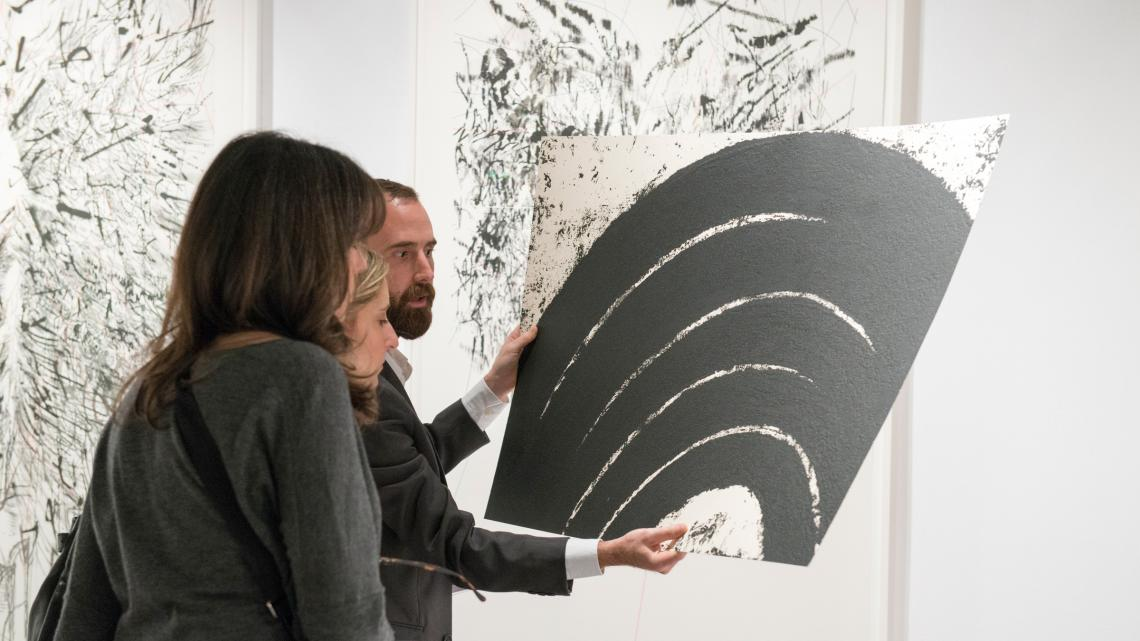 Gallery Director Chris Santa Maria showing Richard Serra editions at the Fine Art Print Fair