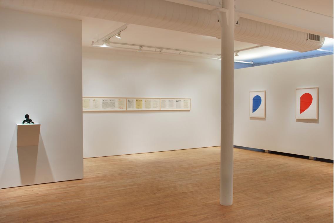 "Claes Oldenburg, Geometric Mouse, Scale E, ""Desktop"", 2013; Allen Ruppersberg, Great Speckled Bird, 2013; Ellsworth Kelly, Blue Curve, 2013; Ellsworth Kelly, Red Curve, 2013"