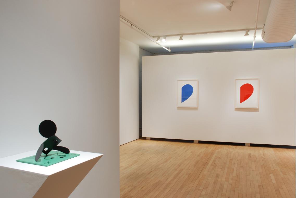 "Claes Oldenburg, Geometric Mouse, Scale E, ""Desktop"", 2013; Ellsworth Kelly, Blue Curve, 2013;  Ellsworth Kelly, Red Curve, 2013"