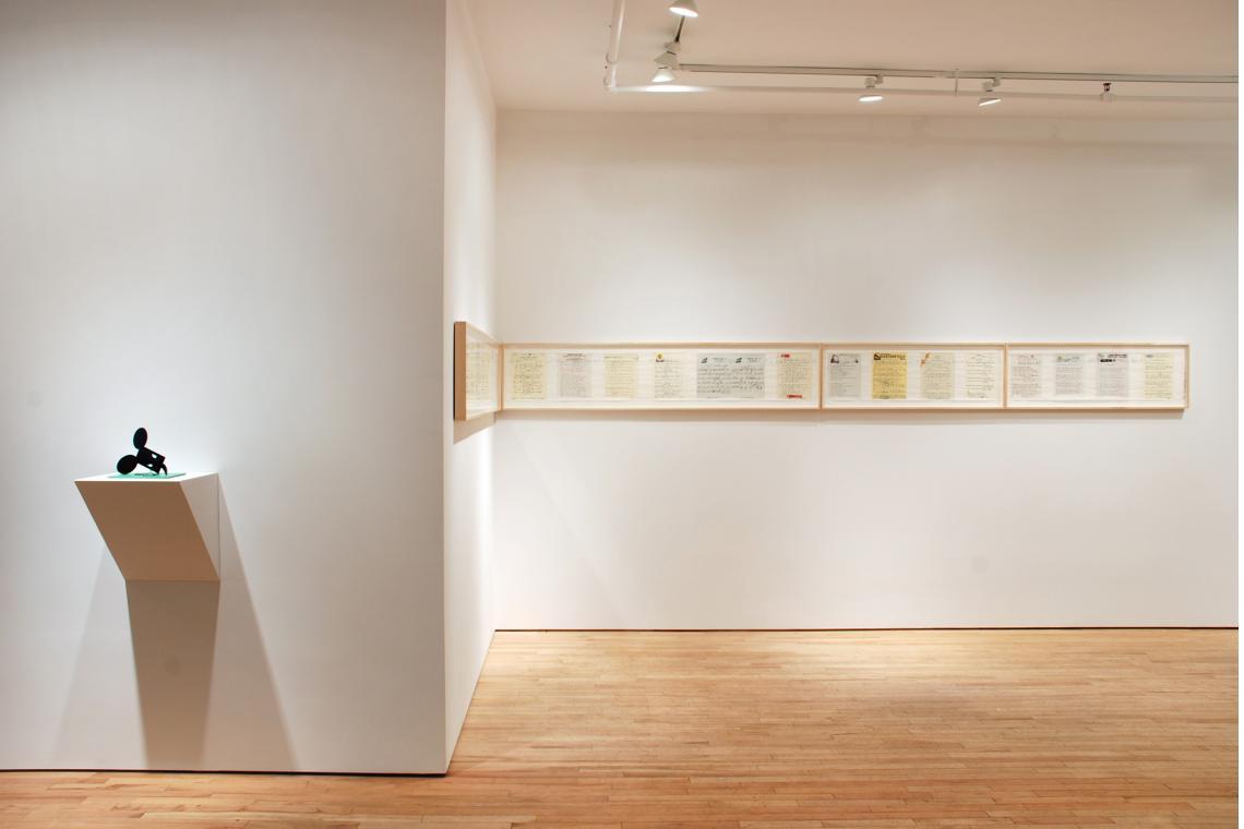 "Claes Oldenburg, Geometric Mouse, Scale E, ""Desktop"", 2013; Allen Ruppersberg, Great Speckled Bird, 2013"