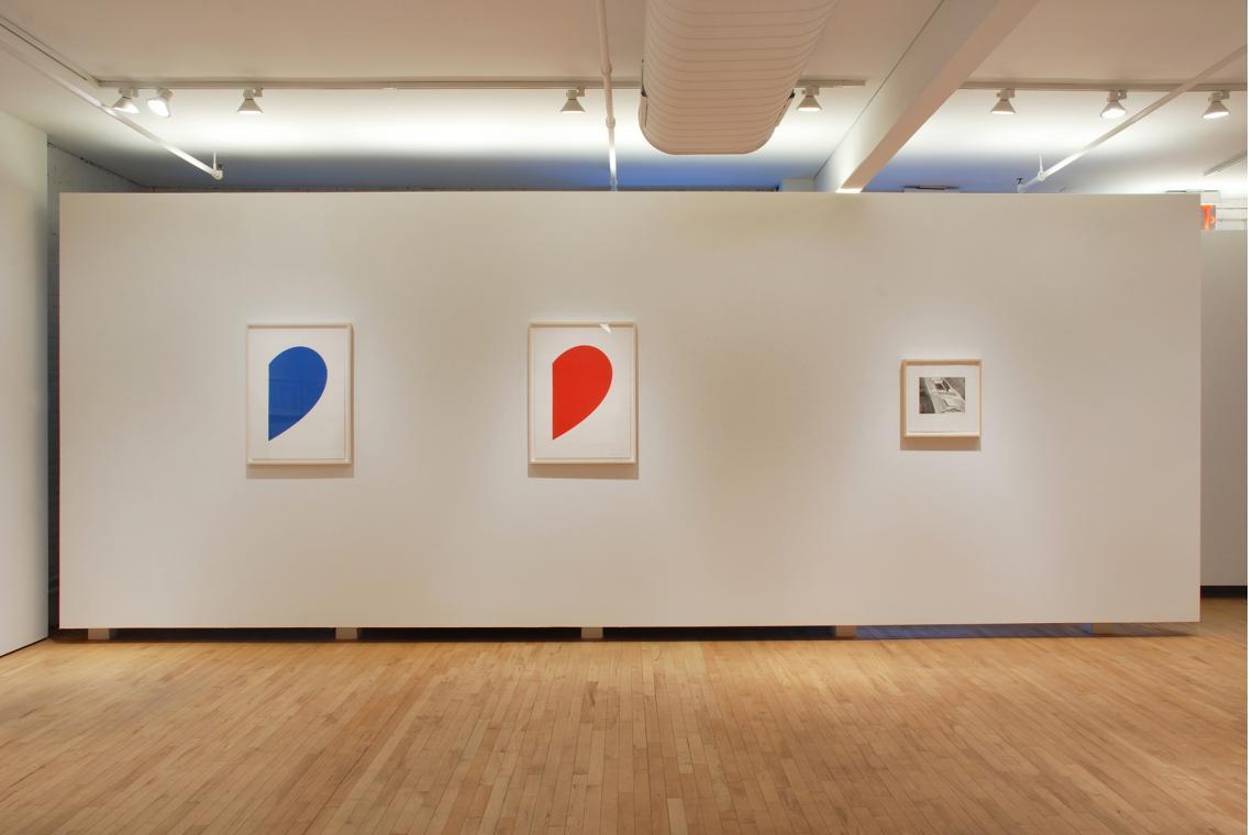 Ellsworth Kelly, Blue Curve, 2013; Ellsworth Kelly, Red Curve, 2013: Michael Heizer, Untitled, 2013