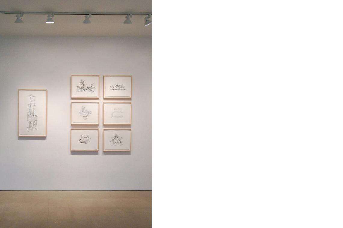 Far left:: Frank Gehry, Beekman Street Towers, 2009; Clockwise from top: Frank Gehry, Brooklyn Atlantic Yards Masterplan, 2009; Marques de Riscal Winery, 2009; The IAC Building, 2009; Study 3, 2009; Walt Disney Concert Hall, 2009; Study 1, 2009
