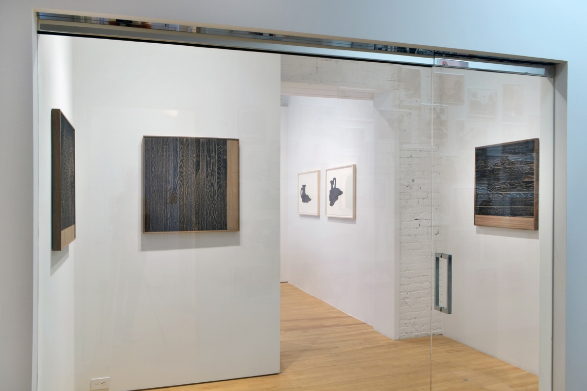 Analia Saban, Wooden Floor on Wood (One-Point Perspective), 2017; Wooden Floor on Wood (Vertical), 2017; Wooden Floor on Wood (Horizontal), 2017.