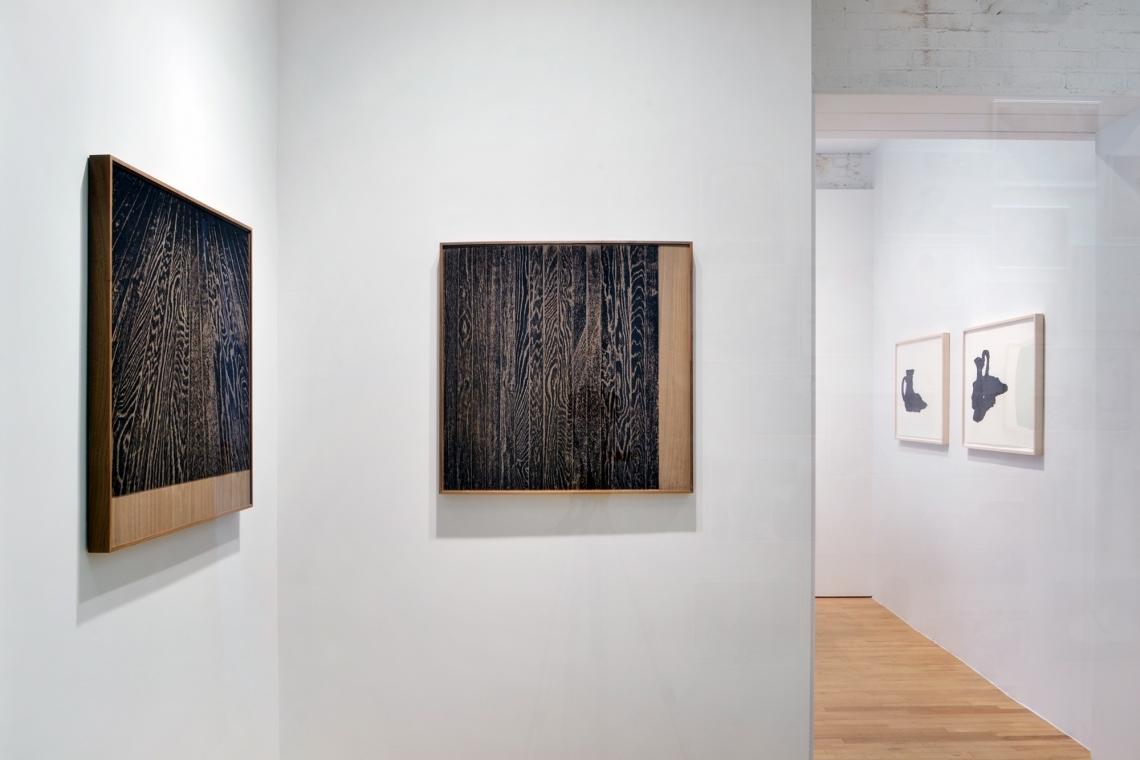 Analia Saban, Wooden Floor on Wood (One-Point Perspective), 2017; Wooden Floor on Wood (Vertical), 2017; Pitcher #3 (Spilled Interior), 2017; Head Vase (Spilled Interior), 2017.
