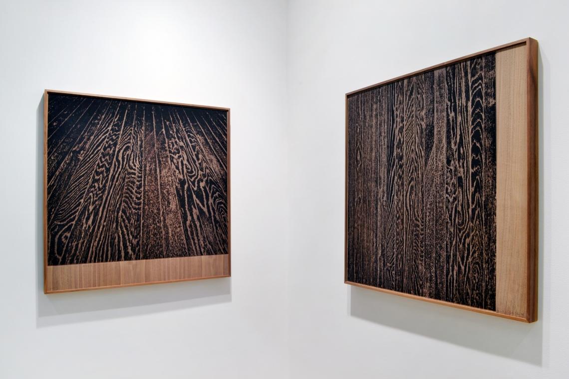 Analia Saban, Wooden Floor on Wood (One-Point Perspective), 2017; Wooden Floor on Wood (Vertical), 2017.