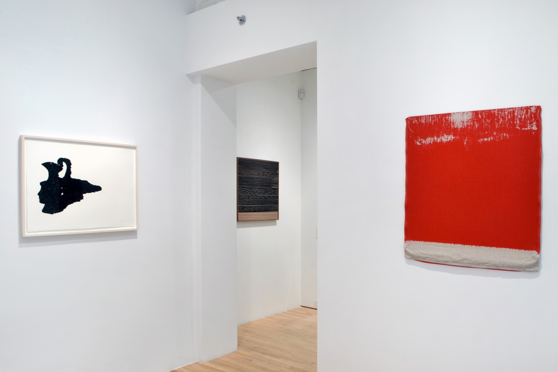 Analia Saban, Head Vase (Spilled Interior), 2017; Pressed Paint (Cadmium Red), 2017; Wooden Floor on Wood (Horizontal), 2017.