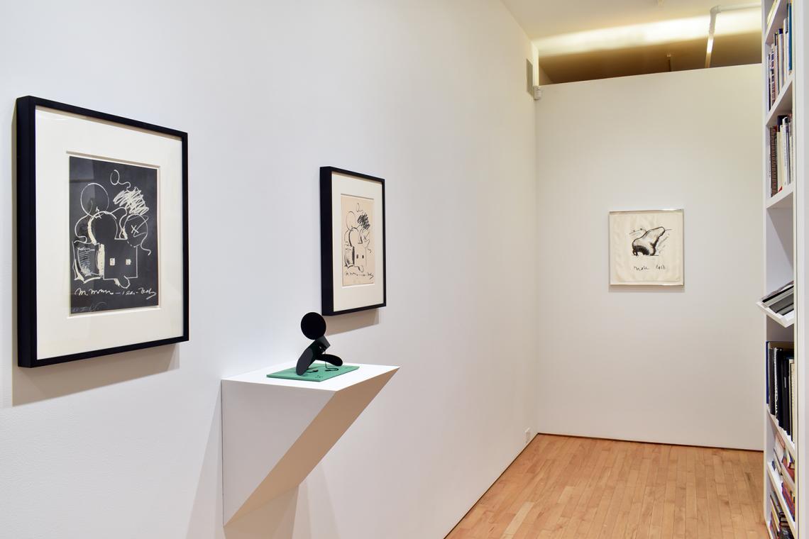 "Claes Oldenburg, M.Mouse (with) 1 Ear (equals) Tea Bag Blackboard Version (1965), 1973; Geometric Mouse – Scale E, ""Desktop""; 2013; M.Mouse (with) 1 Ear (equals) Tea Bag (1965),1973; Nose Handkerchief, 1968."