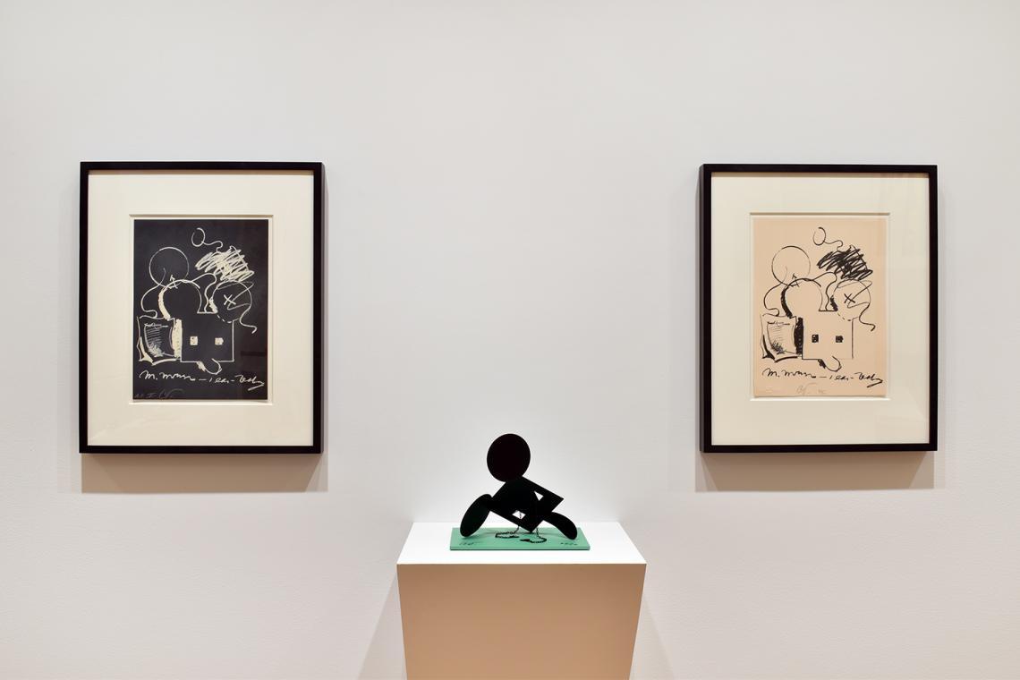 "Claes Oldenburg, M.Mouse (with) 1 Ear (equals) Tea Bag Blackboard Version (1965), 1973; Geometric Mouse – Scale E, ""Desktop""; 2013; M.Mouse (with) 1 Ear (equals) Tea Bag (1965),1973."