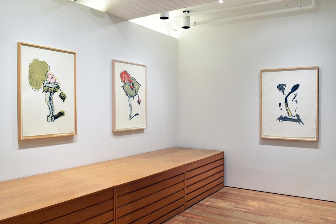 Claes Oldenburg, Perfume Atomizer, on a Chair Leg,1997; Perfume Atomizer, on a Pillow on a Chair Leg,1997; Extinguished Match, 1990.