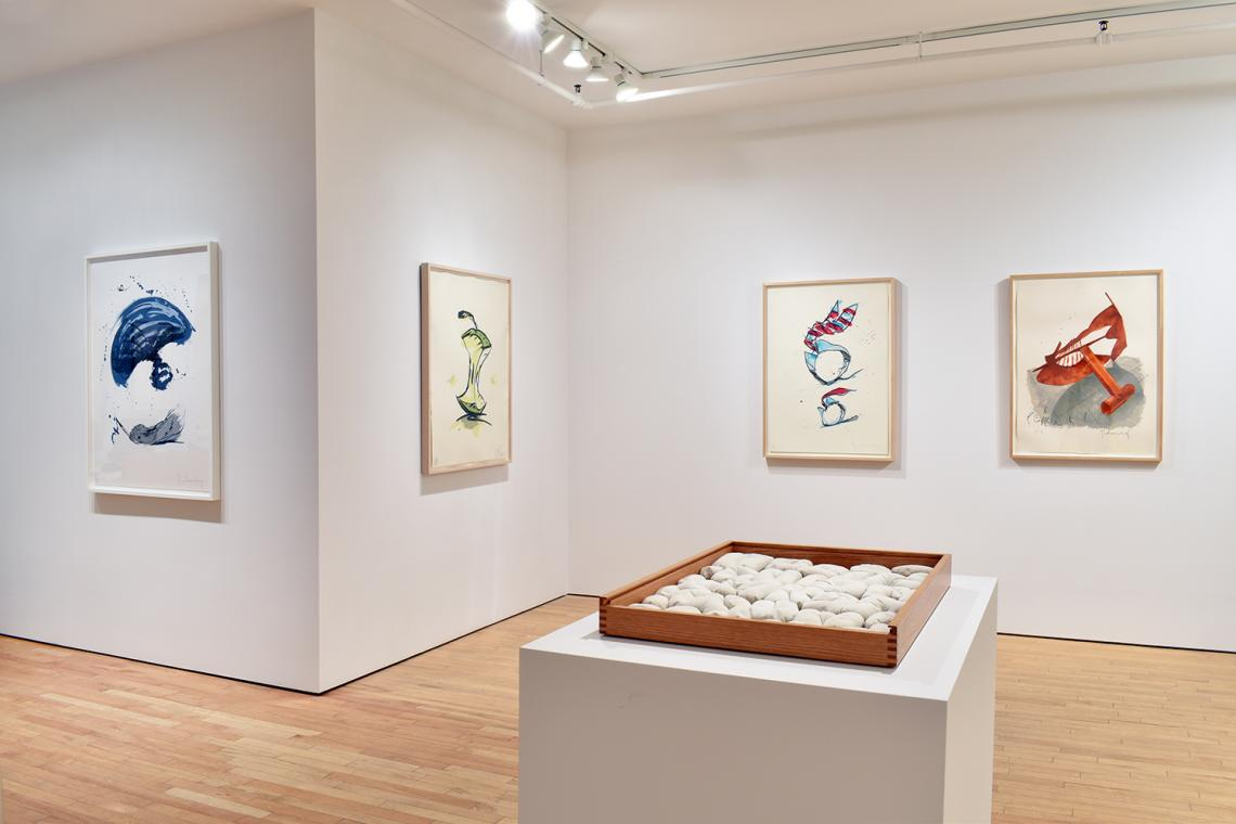 Claes Oldenburg, Thrown Ink Bottle with Fly and Dropped Quill, 1991; Apple Core – Spring, 1990; Rolling Collar and Tie, 1995; Picasso Cufflink, 1974; Soft Alphabet,1978.