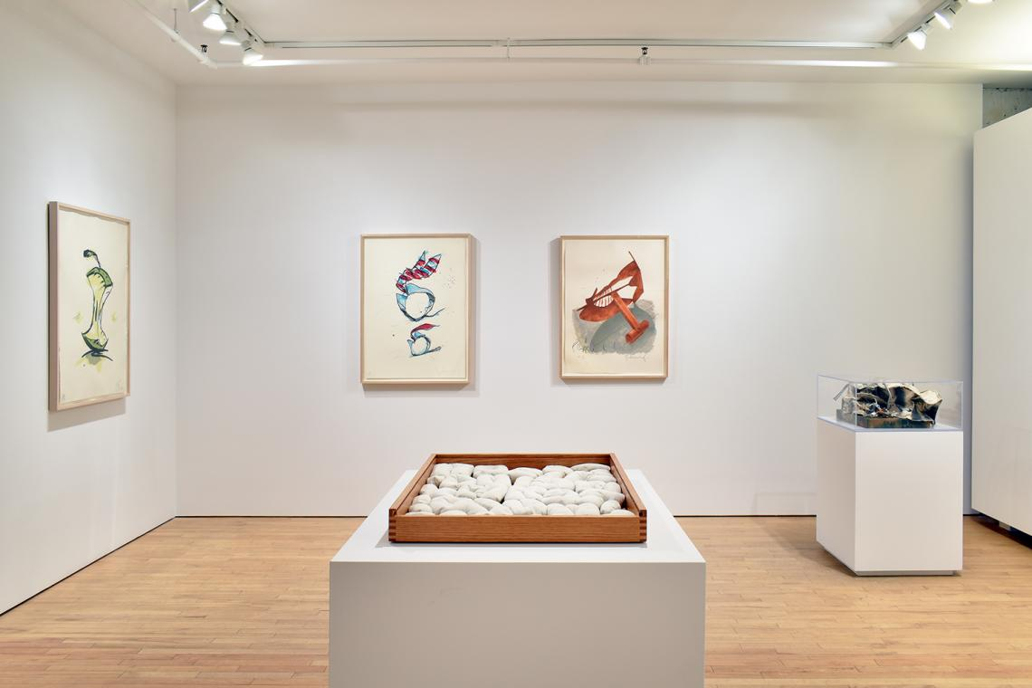 Claes Oldenburg, Apple Core – Spring, 1990; Rolling Collar and Tie, 1995; Picasso Cufflink, 1974; Soft Alphabet,1978.