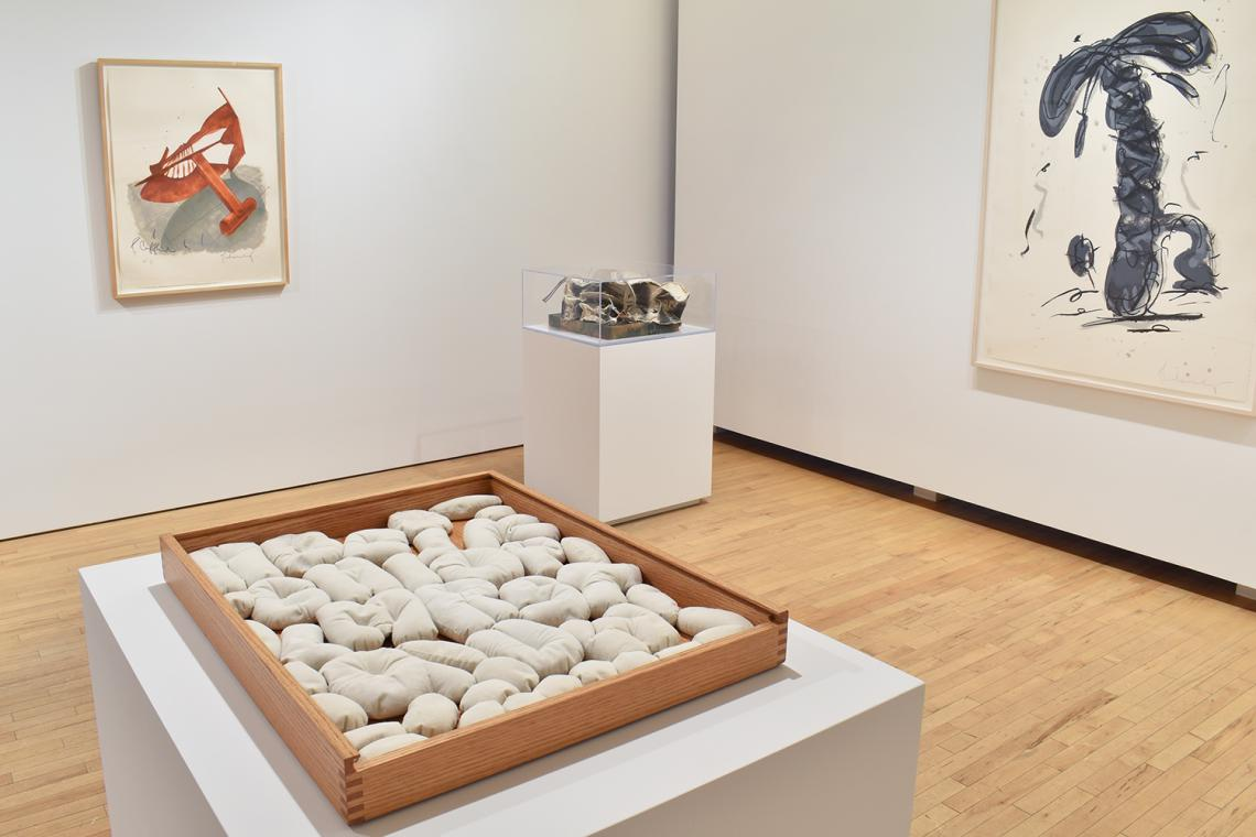 Claes Oldenburg, Picasso Cufflink, 1974; Soft Alphabet,1978; Miniature Soft Drum Set, 1969;Sneaker Lace in Landscape-Gray, 1991.
