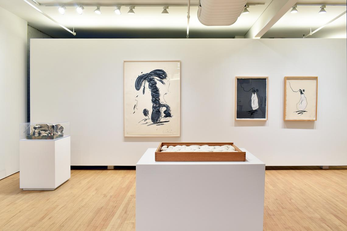 Claes Oldenburg, Miniature Soft Drum Set,1969; Sneaker Lace in Landscape-Gray,1991; Soft Alphabet,1978; Hard Times Bulb - Night, 1995; Hard Times Bulb - Day, 1995.