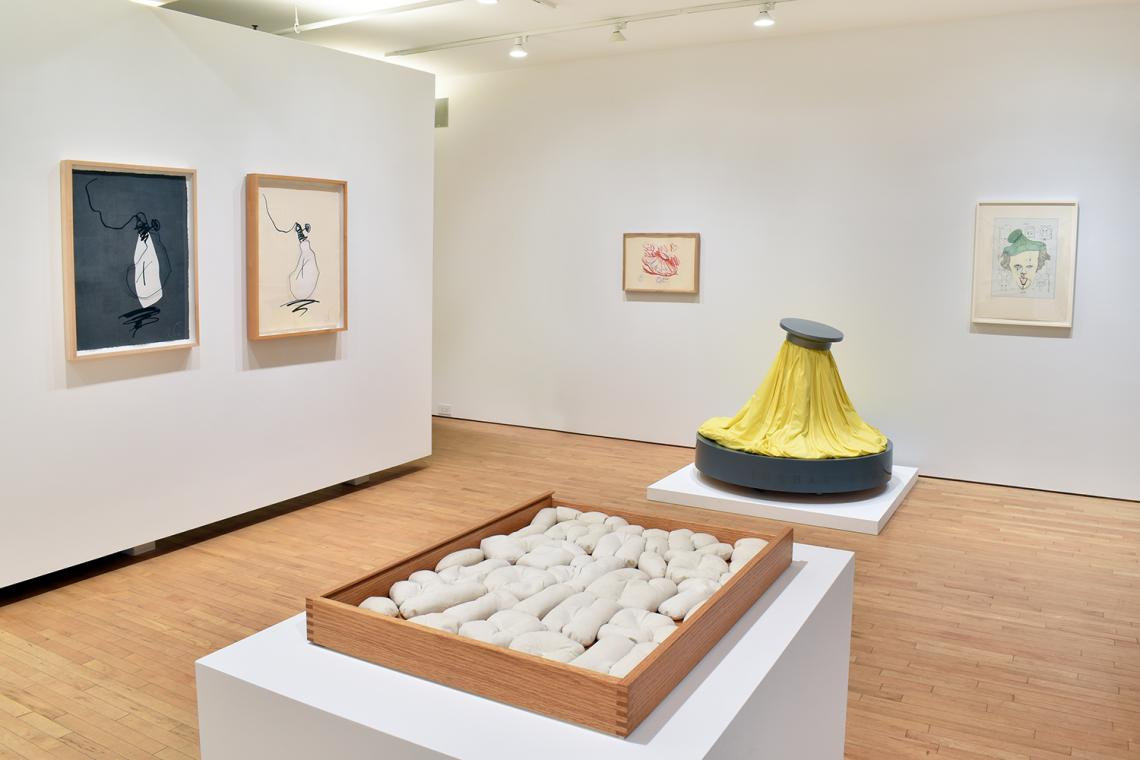 """Claes Oldenburg, Hard Times Bulb - Night, 1995; Hard Times Bulb - Day, 1995; Ice Bag, 1970; Ice Bag – Scale B, 1971; Symbolic Self-Portrait with """"Equals"""",1971; Soft Alphabet,1978."""