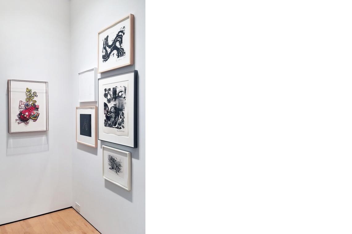 "Elizabeth Murray, ""It Had To Be You"" (Knotting), 1999; Bruce Nauman, O, 2012; Richard Serra, Junction #5, 2010, Susan Rothenberg, Puppet Series #1, 2008; Robert Rauschenberg, Test Stone #1, 1967."
