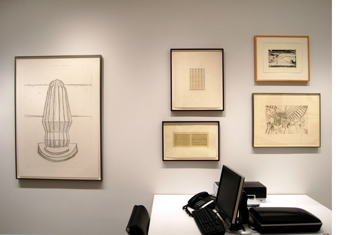 Left to right: Richard Artschwager, The Discovery of Up and Down, 2008; Ann Hamilton, script q, 2008 (above); script r, 2008 (below); Richard Diebenkorn, Untitled #2, 1993; Richard Artschwager, The Discovery of Right and Left, 2008