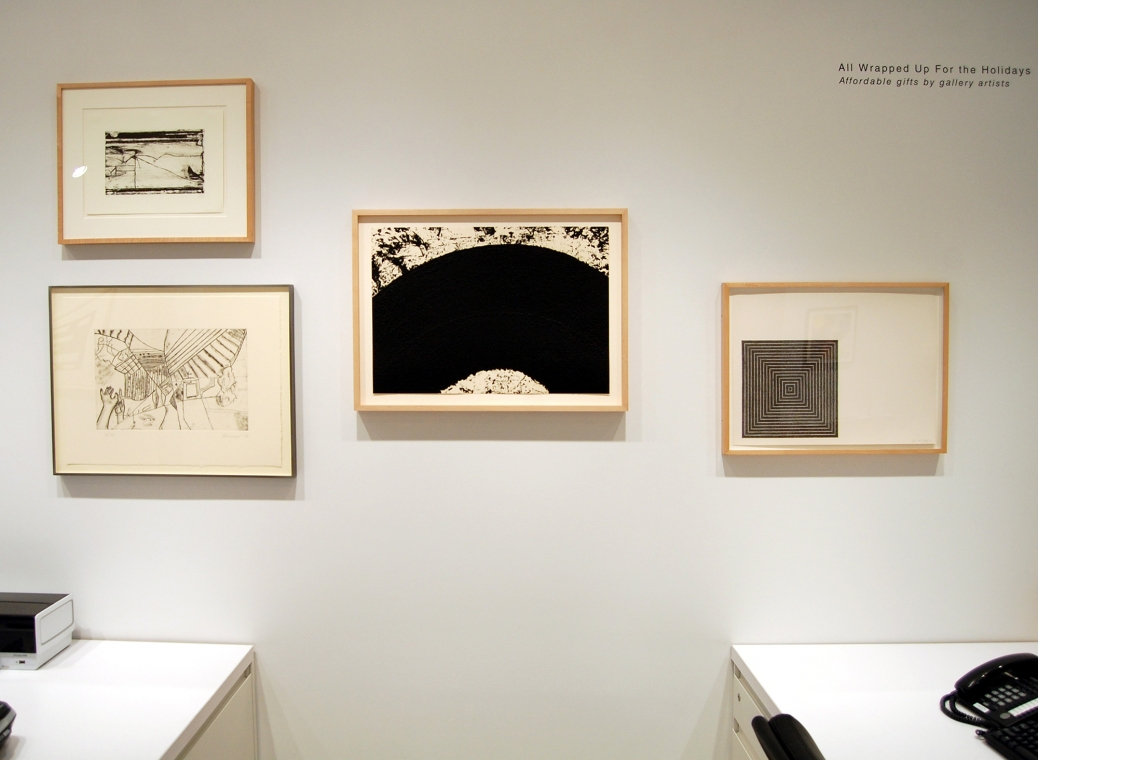 Left to right: Richard Diebenkorn, Untitled #2, 1993 (above); Richard Artschwager, The Discovery of Right and Left, 2008 (below); Richard Serra, Paths and Edges #10, 2007; Frank Stella, Untitled, 1971