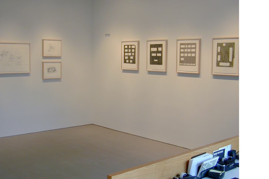 Left to right: Frank Gehry New Lithographs 2007; Ed Ruscha Cityscapes 2007