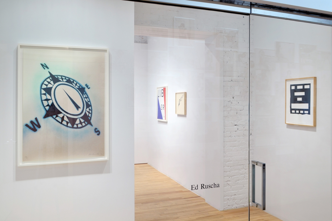 Ed Ruscha, Compass, 1990; Liberty, 2011; We the People, 2012; I Have Not Forgotten, 2007.