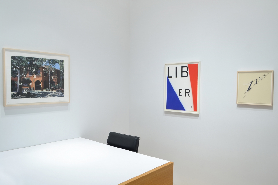 Ed Ruscha, Unstructured Merriment, 2016; Liberty, 2011; We the People, 2012.