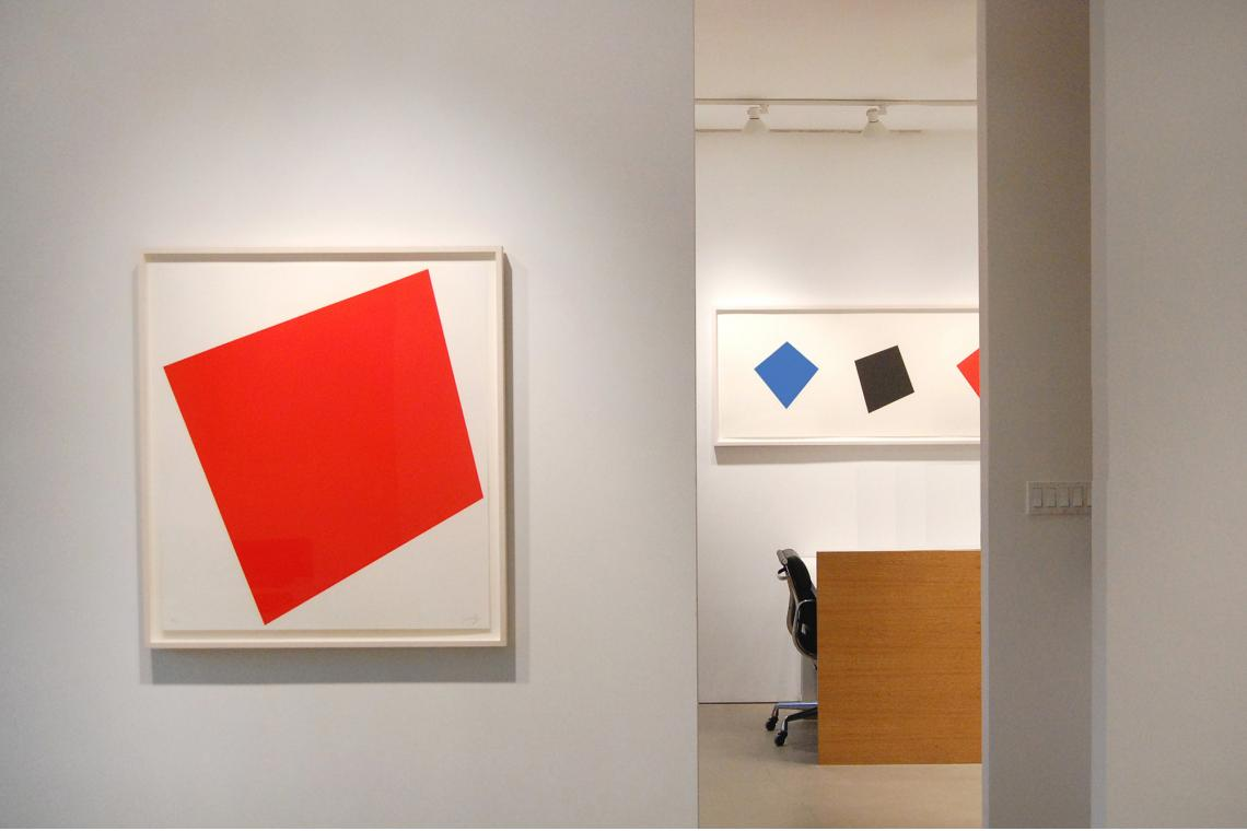 Untitled (Red), 2005; Blue/Black/Red/Green, 2001
