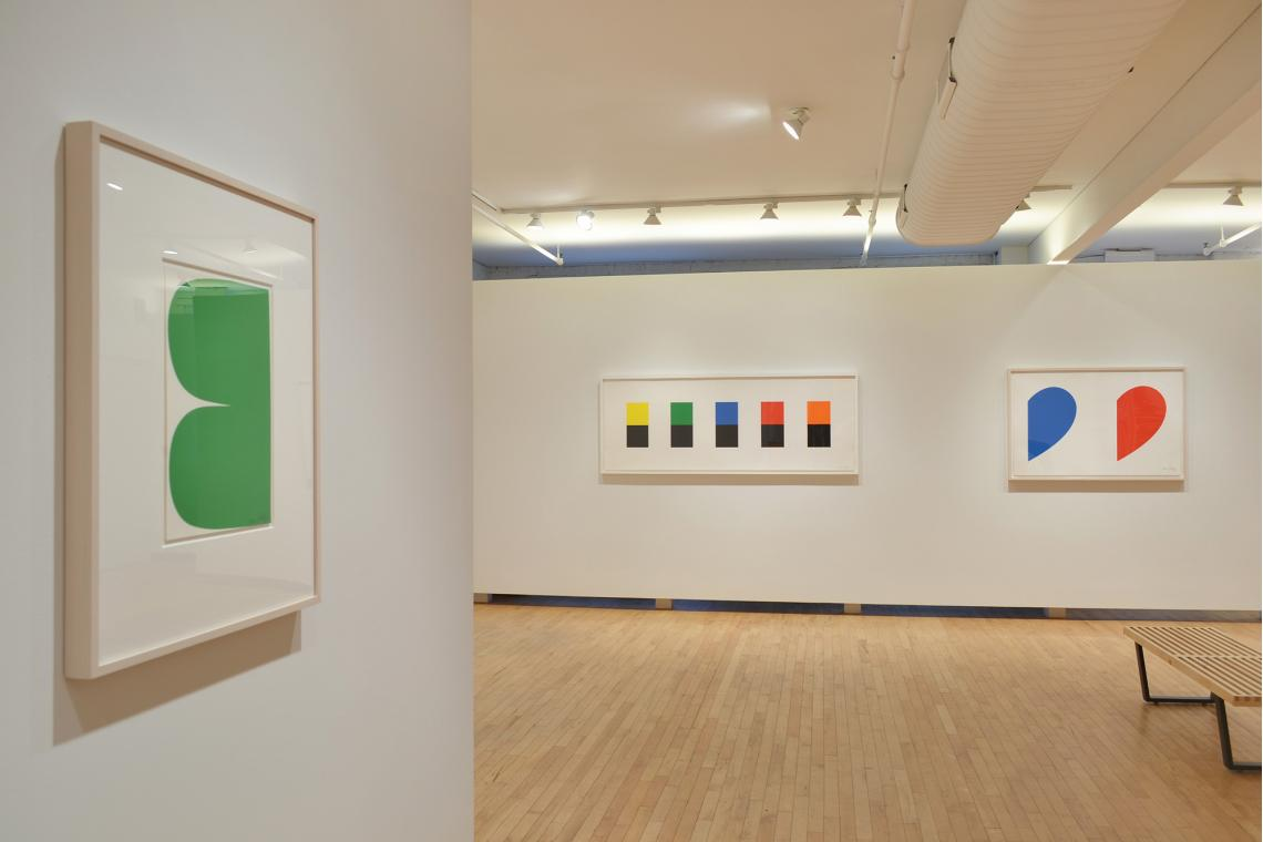 Green Curves, 2013; Color Over Black, 2012; Blue Curve/Red Curve, 2014
