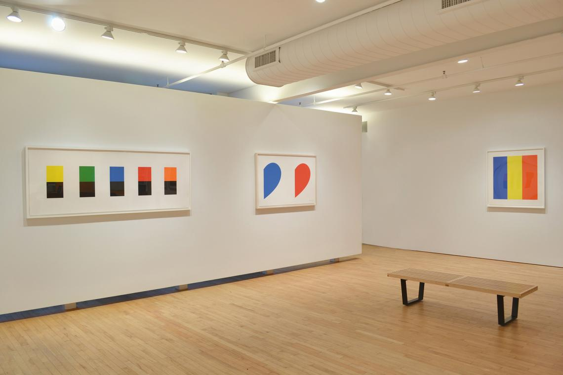 Color Over Black, 2012; Blue Curve/Red Curve, 2014; Blue/Yellow/Red, 1992
