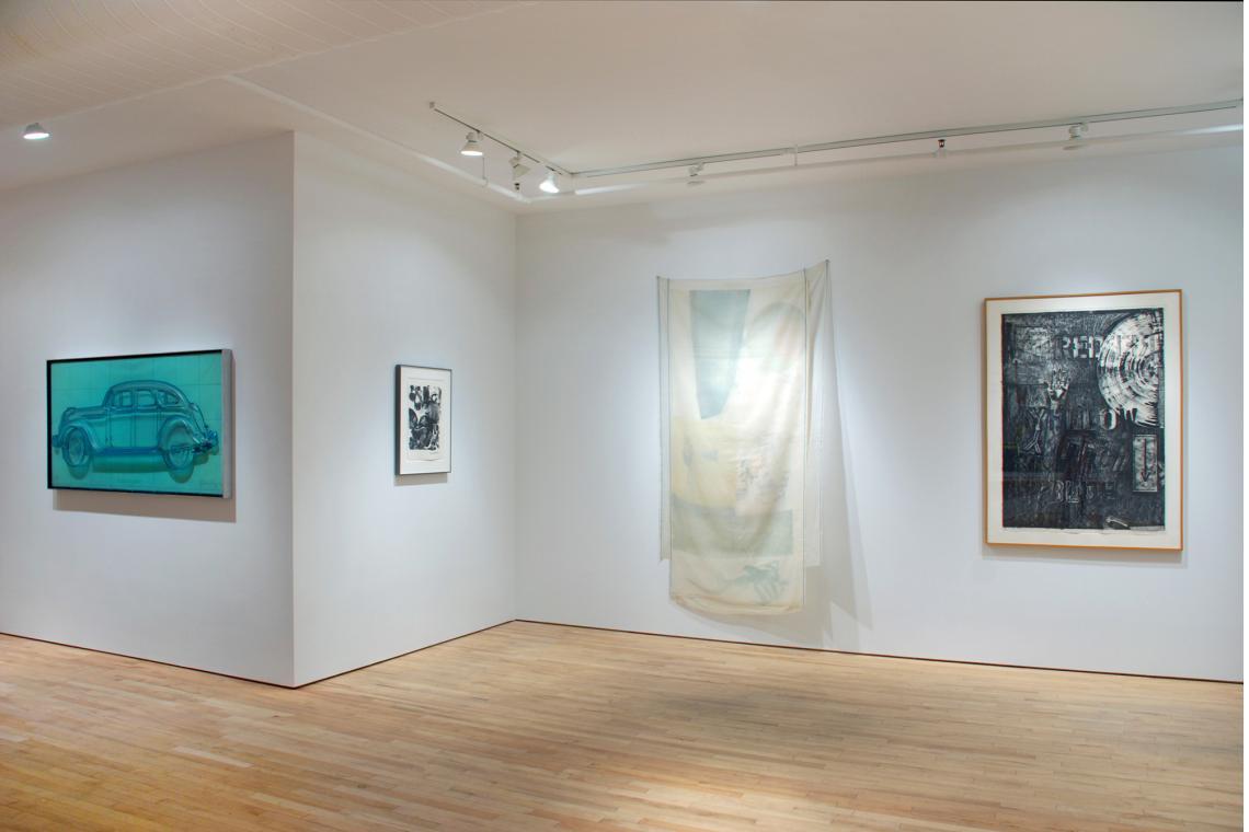 Claes Oldenburg, Profile Airflow, 1969; Robert Rauschenberg, Test Stone #1, 1967; Robert Rauschenberg, Scent, 1974; Jasper Johns, Land's End, 1979