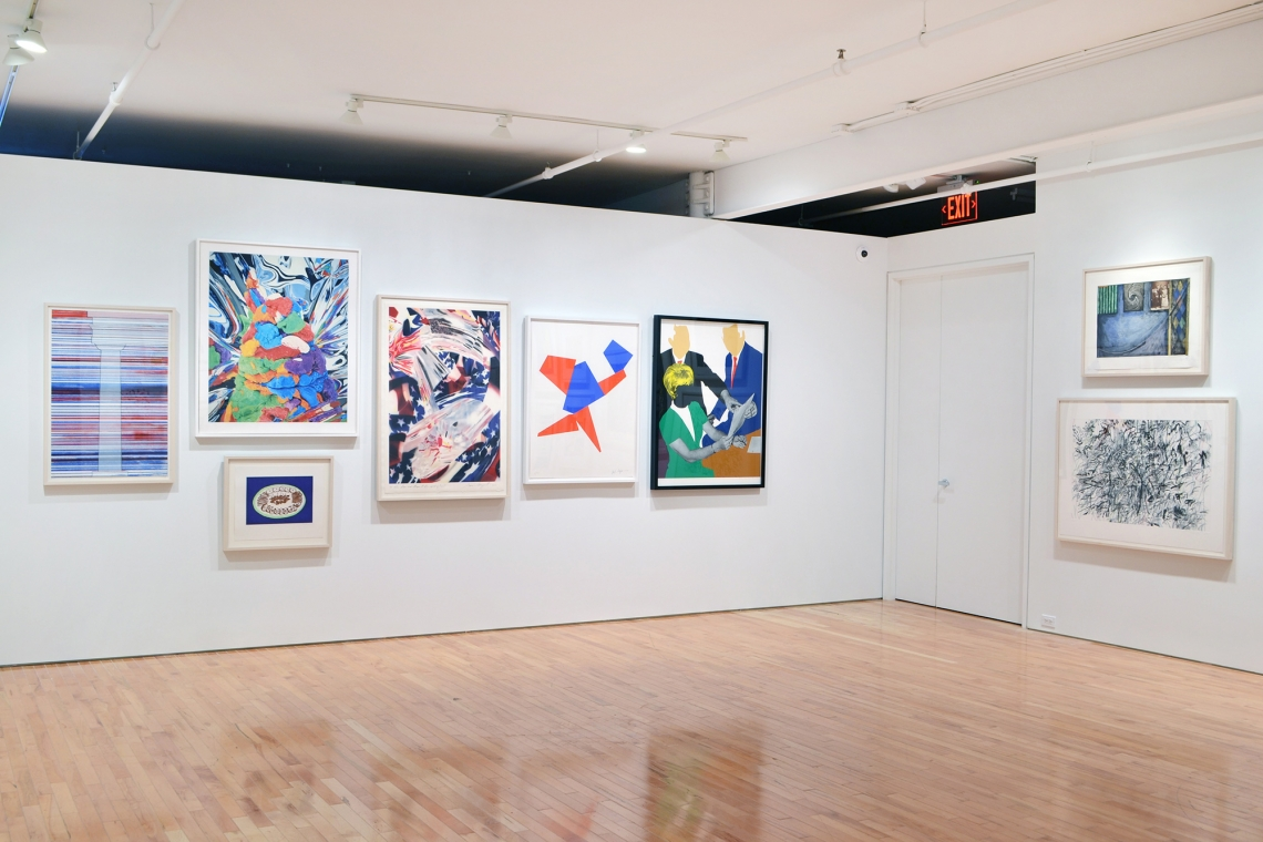 Ed Ruscha, Column with Speed Lines, 2003; Jeff Koons, Play-Doh, 2015; Wayne Theibaud, Appetizers, 2016; James Rosenquist, The Stars and Stripes at the Speed of Light, 2000; Joel Shapiro, Toss-Up, 2012; John Baldessari, Three Government Personnel Consideri