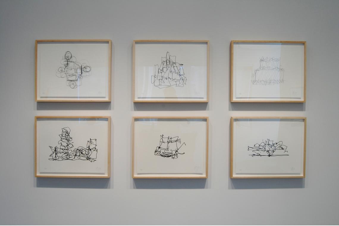 Clockwise from upper left: Study 1, 2009; Study 3, 2009; The IAC Building, 2009; Marques de Riscal Winery, 2009; Walt Disney Concert Hall, 2009; Brooklyn Atlantic Yards Masterplan, 2009