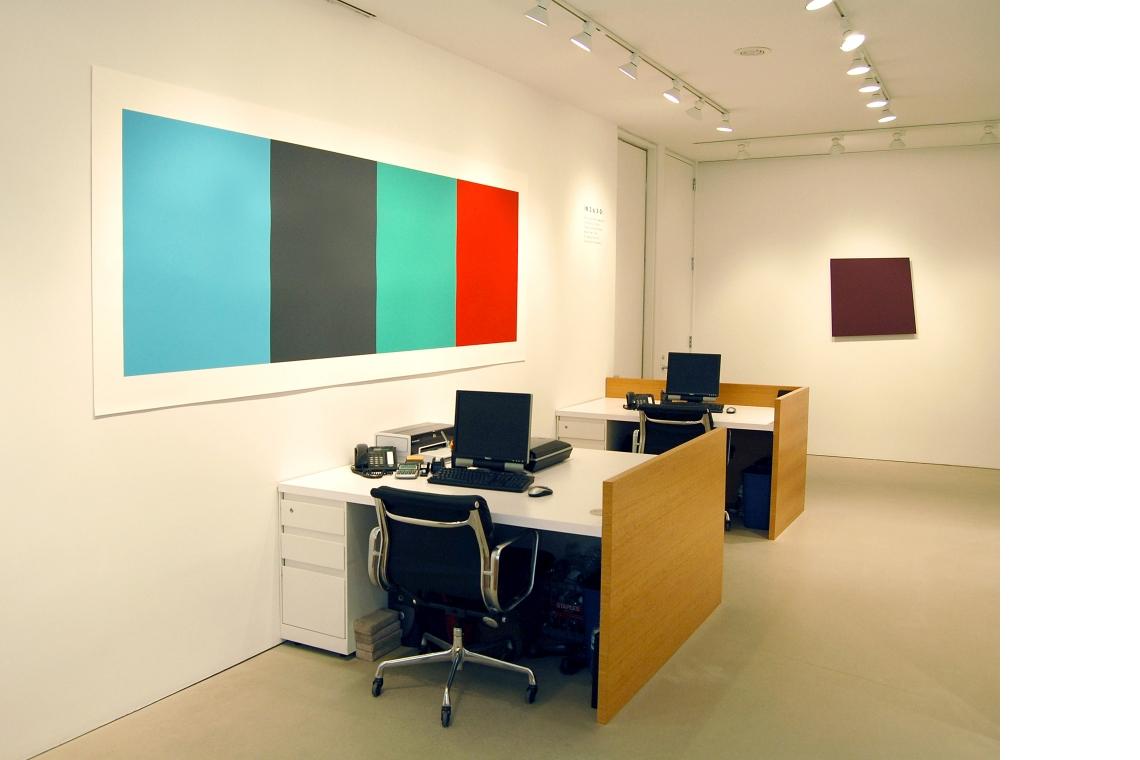 Left to Right: Ellsworth Kelly – Blue Gray Green Red, 2008; Dark Red-Violet Panel, 1982.