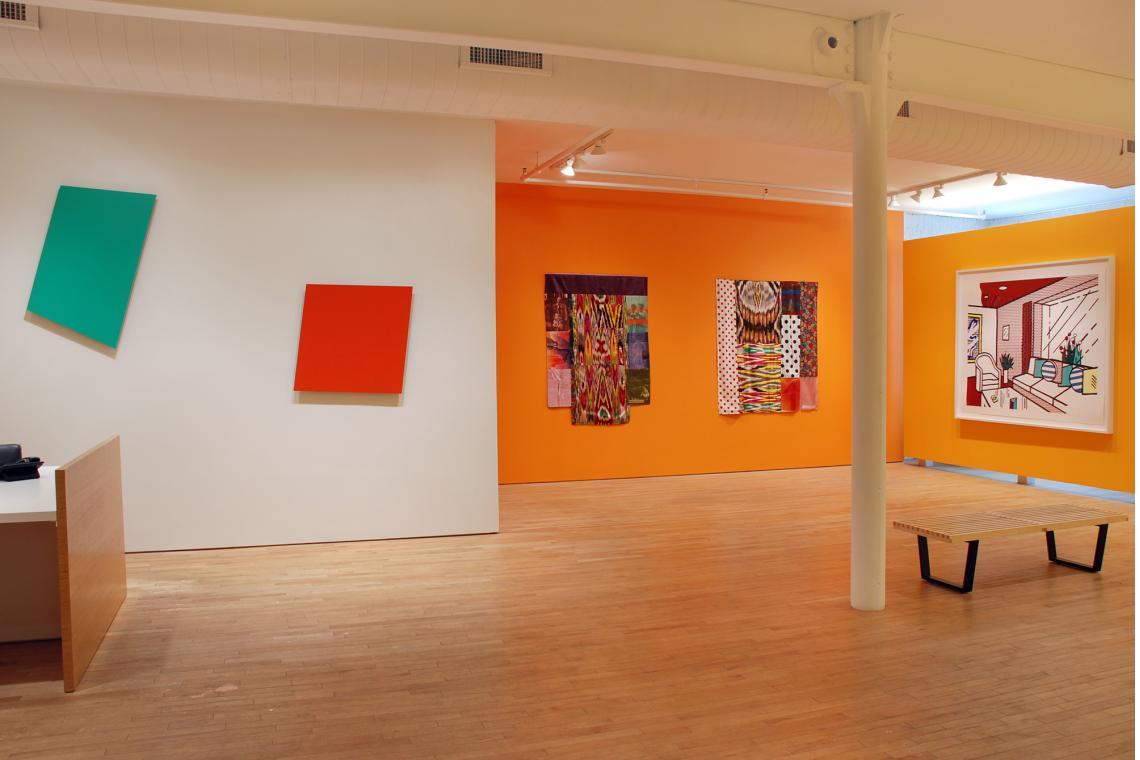 Ellsworth Kelly, Light Green Panel, 1982; Ellsworth Kelly, Red Panel, 1982;  Robert Rauschenberg, Samarkand Stitches III, 1988; Robert Rauschenberg, Samarkand Stitches II, 1988;  Roy Lichtenstein, Living Room, 1991