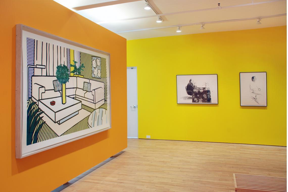 Roy Lichtenstein, Yellow Vase, 1991; David Hockney, Henry at the Table, 1976; David Hockney, Mo McDermott, 1976
