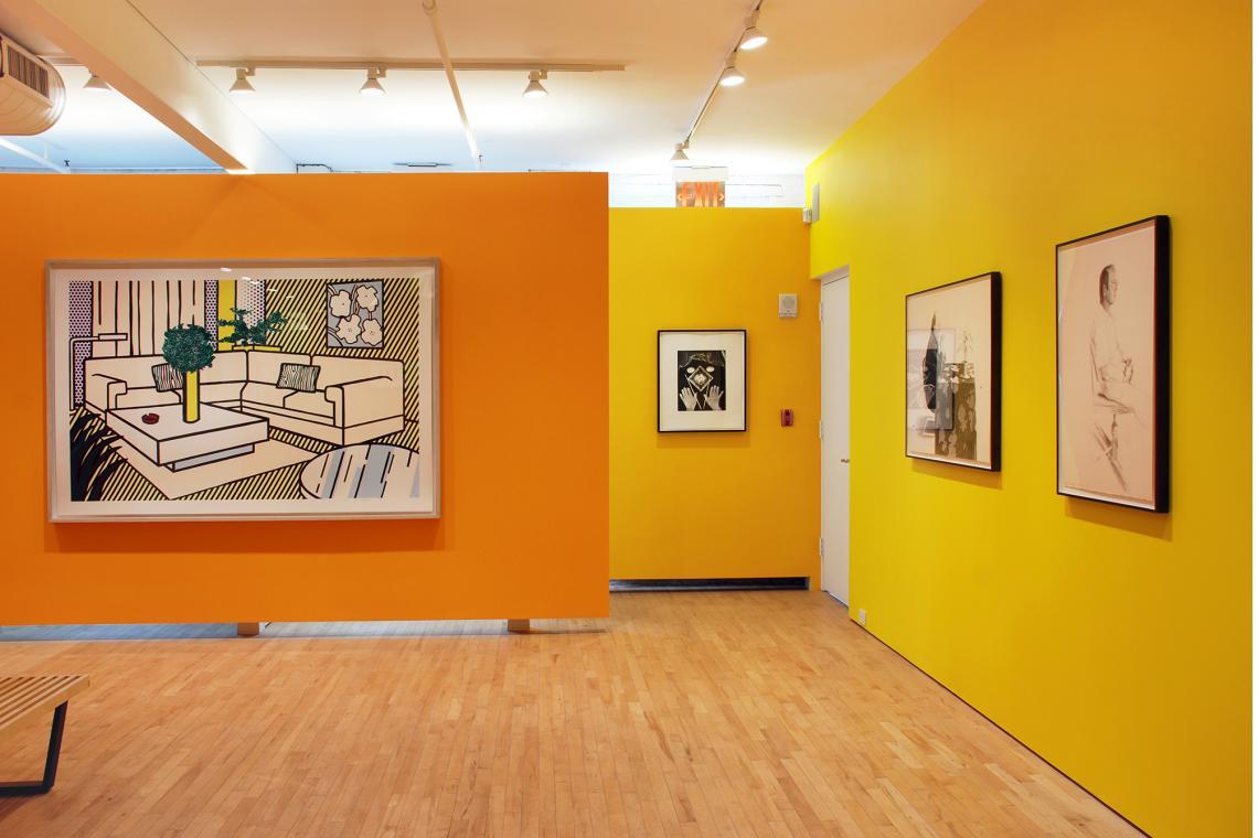 Roy Lichtenstein, Yellow Vase, 1991; Man Ray, Untitled, 1966; David Hockney, Henry at the Table, 1976;  David Hockney, Mo McDermott, 1976