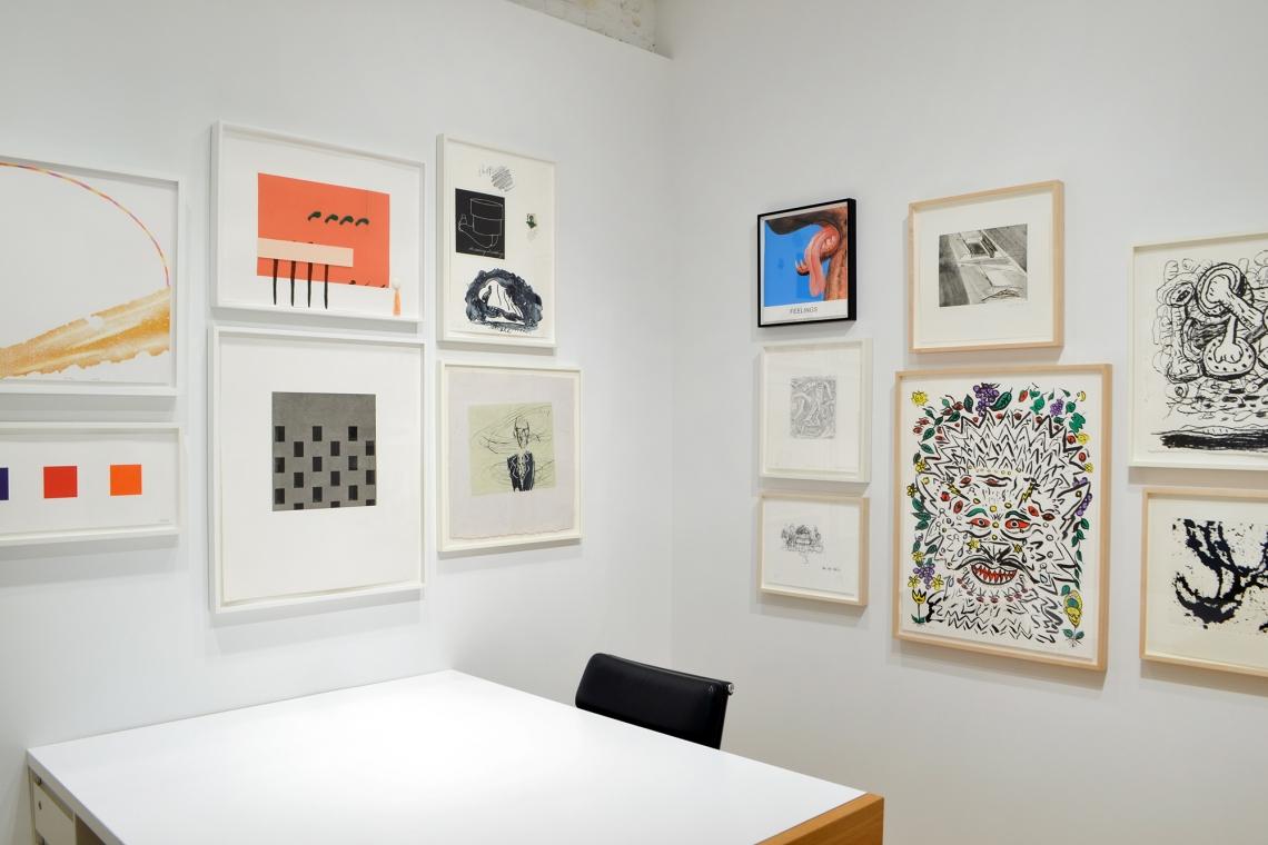 """Richard Tuttle, Metal Shoes, 8, 2009; """"For Case Hudson, Printer"""", 2013; Claes Oldenberg, Notes (Skate Monument), 1968; Ellsworth Kelly, Color Squares 2, 2011; Toba Khedoori, Untitled, 2005."""