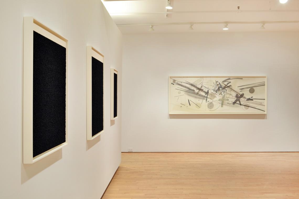 Richard Serra, Elevational Weight II, 2016; Elevational Weight I, 2016; Elevational Weight VI, 2016; Michael Heizer, Levitated Mass, 2015