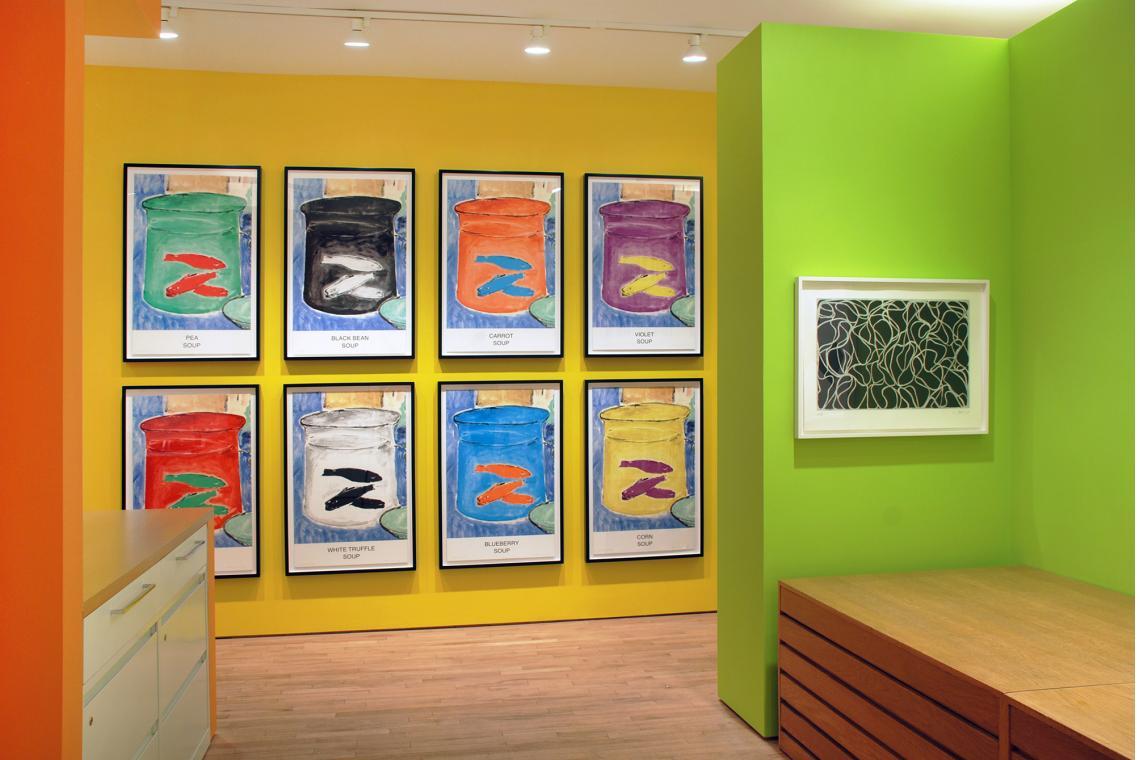 John Baldessari, Eight Soups, 2012; Brice Marden, Line Muses, 2001