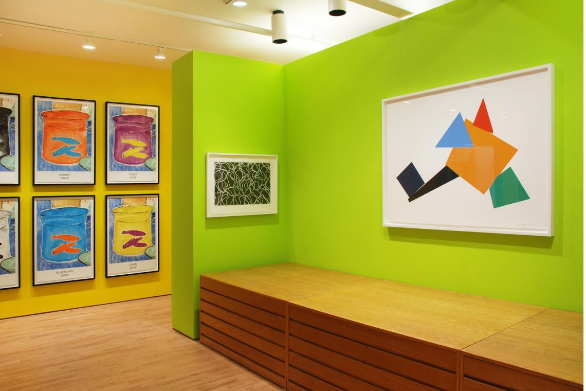 John Baldessari, Eight Soups, 2012; Brice Marden, Line Muses, 2001; Joel Shapiro,Up Down Around (d), 2011