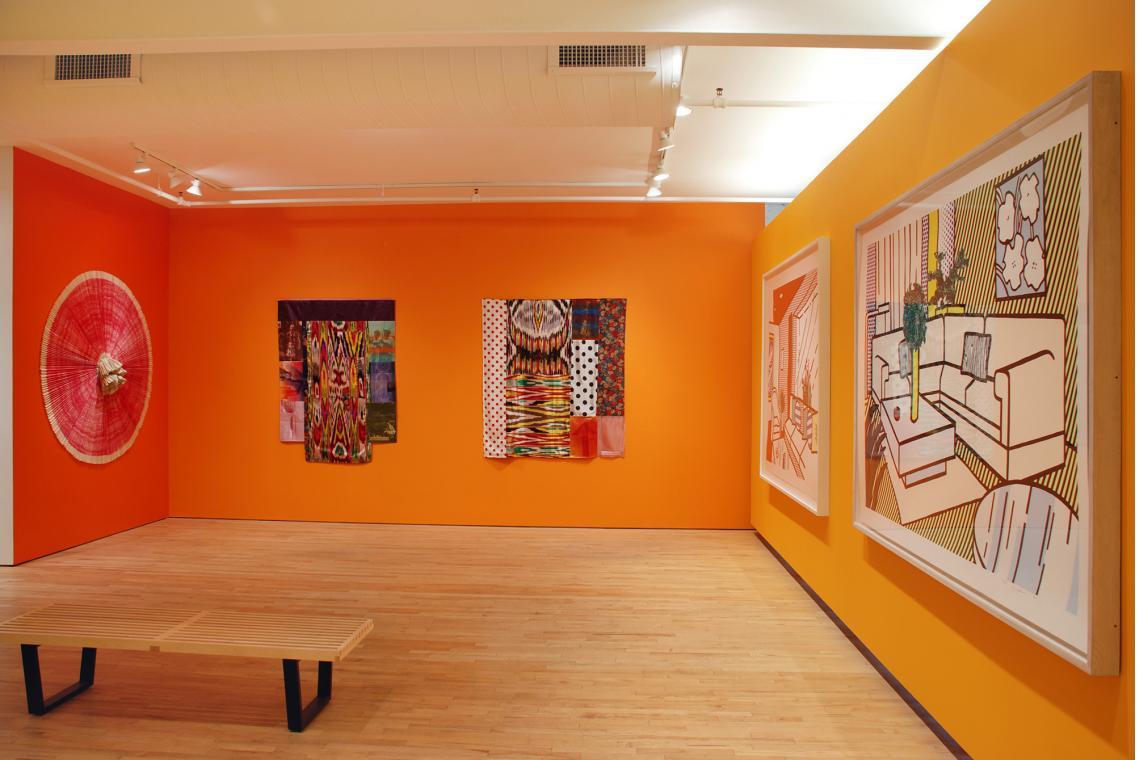 Ann Hamilton, ciliary, 2010; Robert Rauschenberg, Samarkand Stitches III, 1988;  Robert Rauschenberg, Samarkand Stitches II, 1988; Roy Lichtenstein, Living Room, 1991;  Roy Lichtenstein, Yellow Vase, 1991