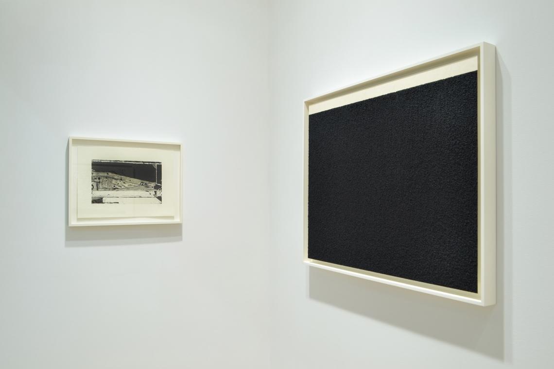 Richard Diebenkorn, Untitled #3, 1993; Richard Serra, Elevational Weight IV, 2016.