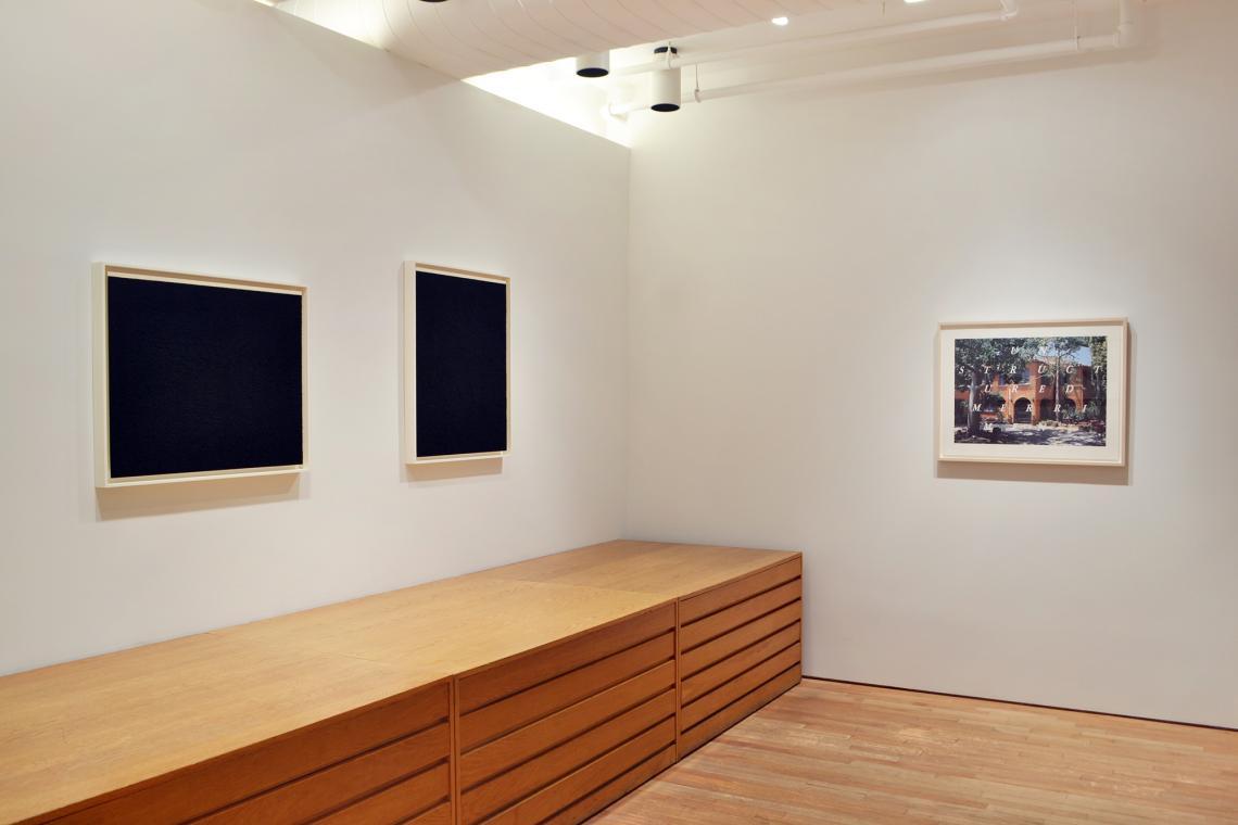 Richard Serra, Elevational Weight V, 2016; Elevational Weight III, 2016; Ed Ruscha, Unstructured Merriment, 2016