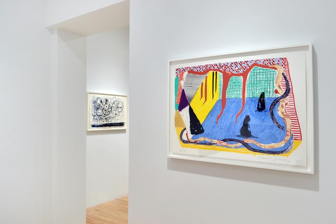 Philip Guston, Sky, 1983; David Hockney, Ink in the Room, 1993.