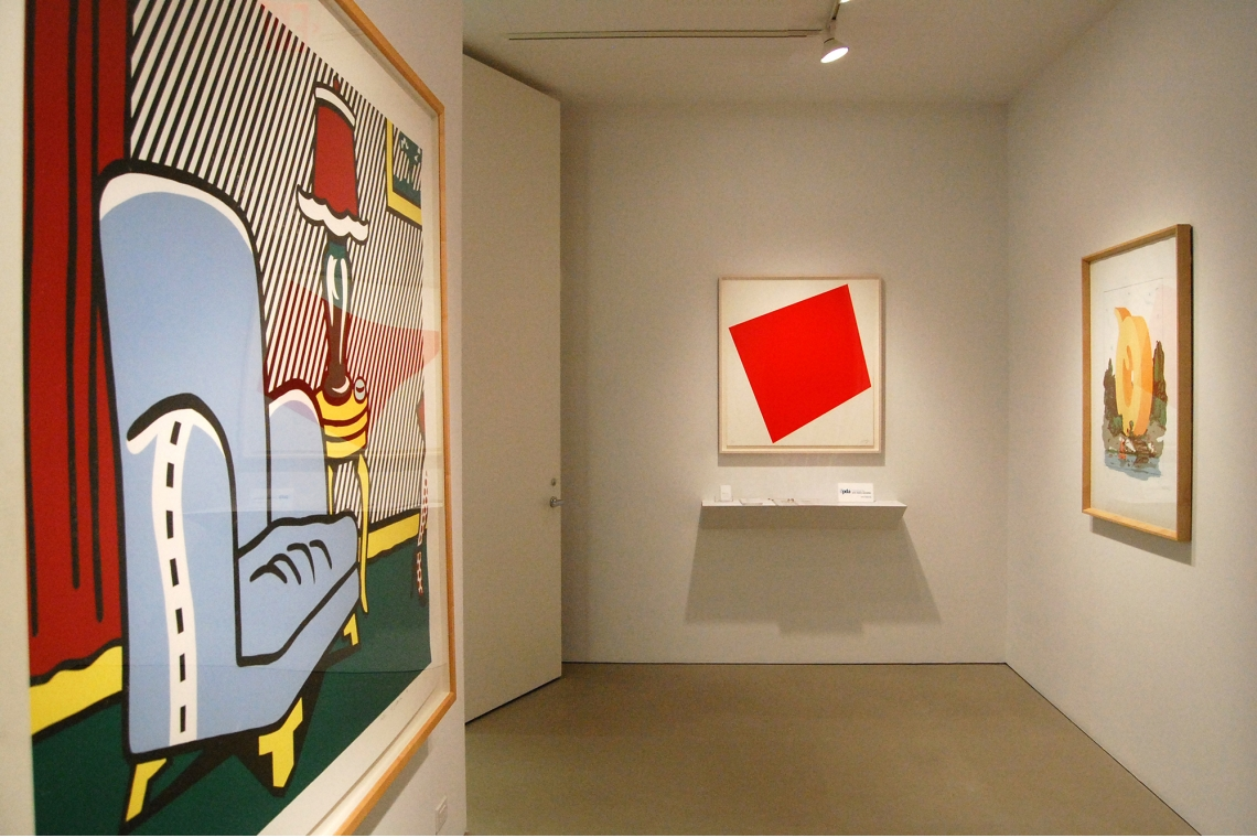 Left to right: Roy Lichtenstein, La Sortie, 1991; Ellsworth Kelly, Untitled (Red), 2005; Claes Oldenburg, Letter Q as Beach House, with Sailboat, 1972