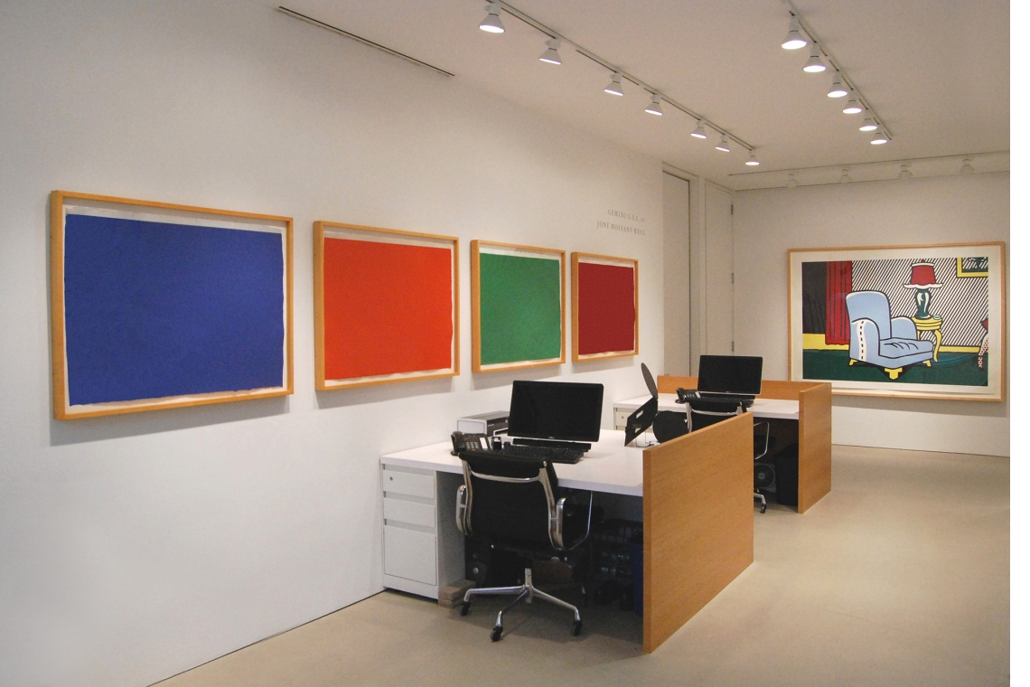 Left to right: Dan Flavin, (To Don Judd, Colorist) 1-7, 1987; Roy Lichtenstein, La Sortie, 1991