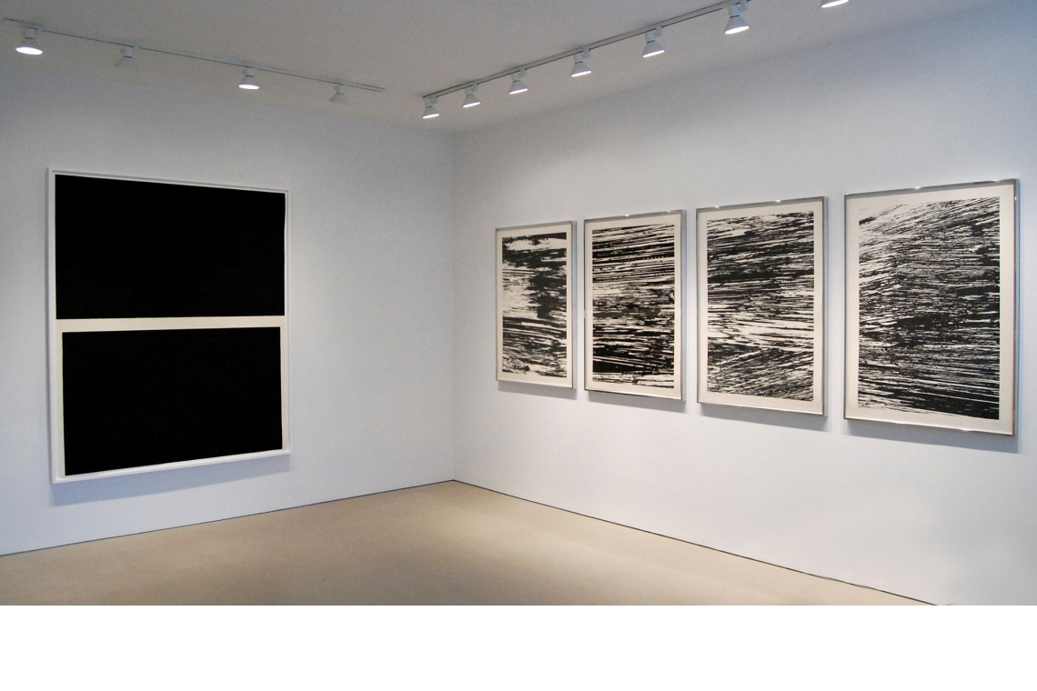 Left to right: Richard Serra, Double Level II, 2009; Ellsworth Kelly: The Nile, The Thames, The Amazon, The Mississippi, 2005