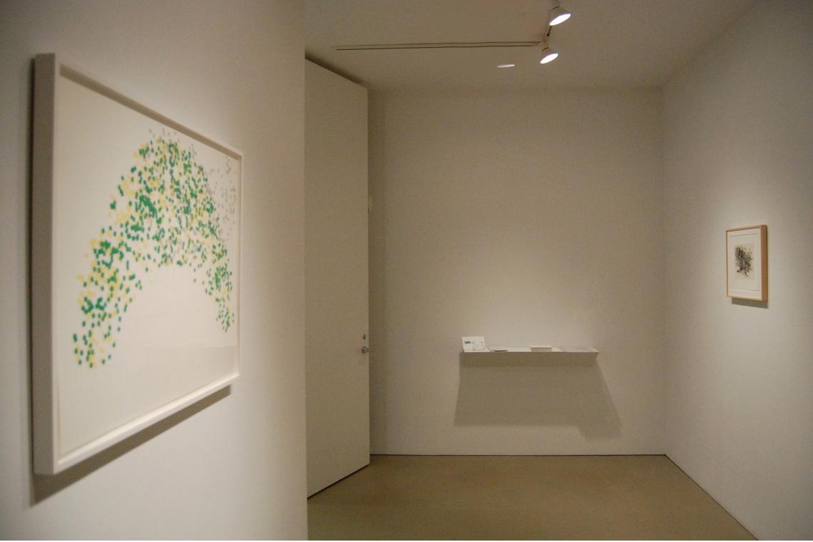 Left to right: Richard Tuttle Metal Shoes, 7, 2009; Julie Mehretu Untitled 1 (Amulets), 2008