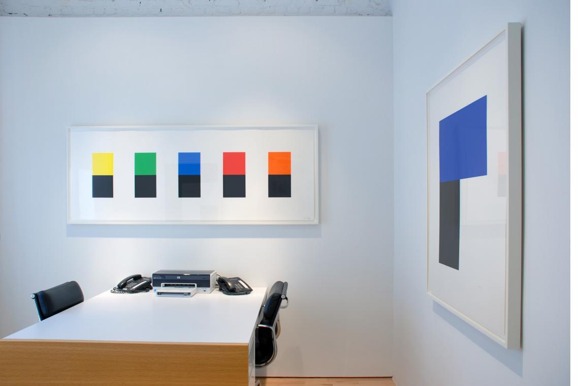 Color Over Black, 2012; Blue with Black I, 1974