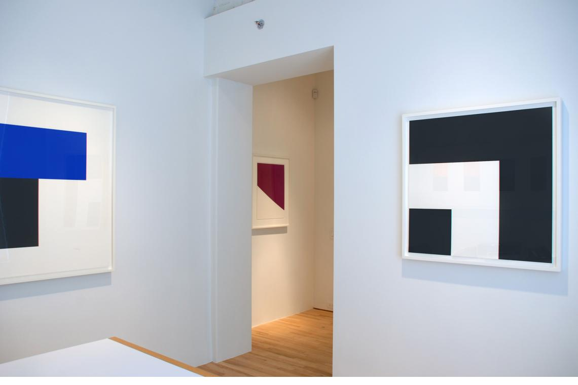 Blue with Black I, 1974; Two Blacks and White, 2000