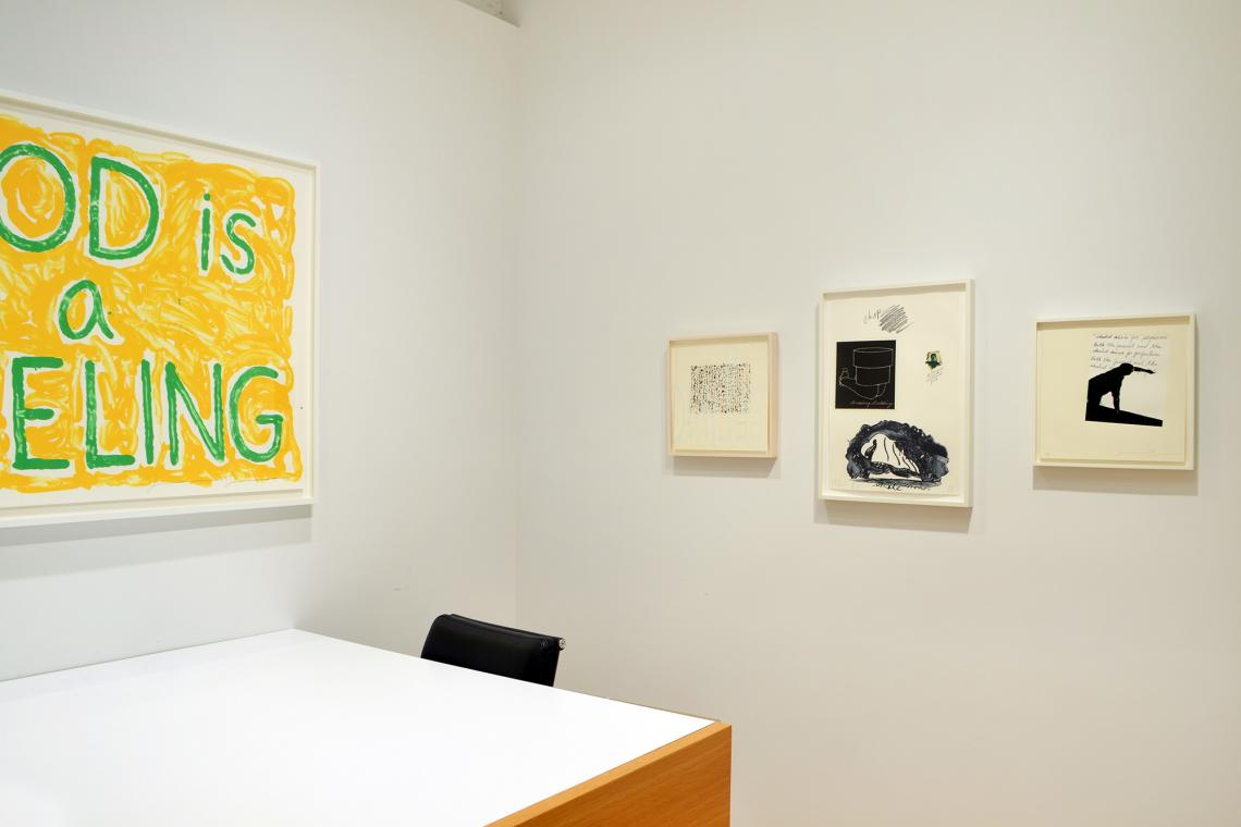 Jonathan Borofsky, God is a Feeling, 2010; Brice Marden, Obama Letter, 2012; Claes Oldenburg, Notes (Skate Monument),1968; Jonathan Borofsky, It's About Control, 2012