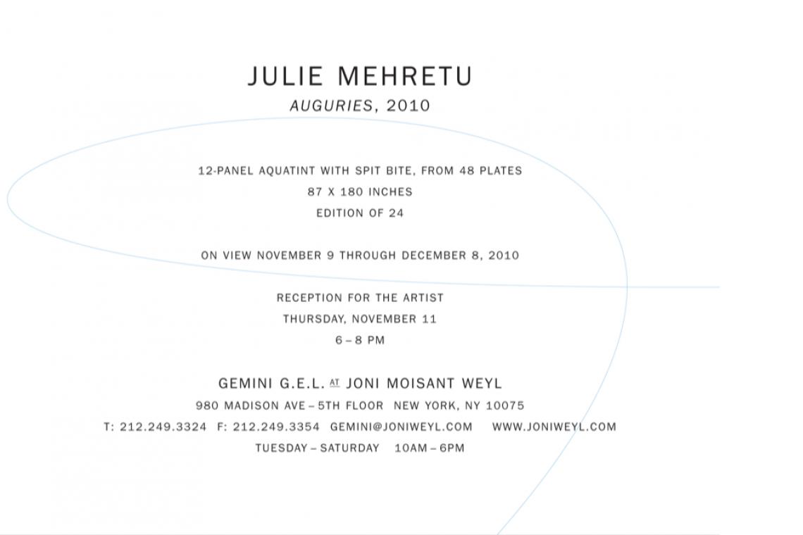 Julie Mehretu Auguries 2010 Announcement Card